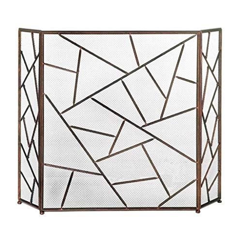 CHHD Einfache Wohnzimmer Kamin Trennwand Dreifach Feuerstelle mit Netz Schmiedeeisen hohl dekorative Mantel Indoor Weihnachtsdekoration