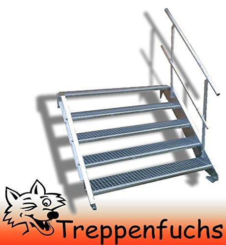 5 Stufen Stahltreppe mit einseitigem Geländer / Breite 60cm Geschosshöhe 70-105cm / Robuste Außentreppe / Wangentreppe / Stabile Industrietreppe für den Außenbereich / Inklusive Zubehör
