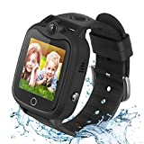 Kids Smart Watch for Boys Girls, Waterproof Smartwatch with LBS Tracker Call SOS Alarm Clock, Touch Screen Kids Phone Watch for 4-12 Years Old Students (Black)