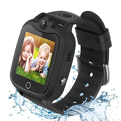 Kids Smart Watch for Boys Girls, Waterproof Smartwatch with LBS Tracker Call SOS Alarm Clock , Touch Screen Kids Phone Watch for 4-12 Years Old Students (Black)