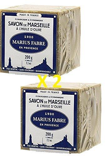 Marius Fabre - SAVON DE MARSEILLE ˆ l'huile d'olive, 200 Gr - Lot de 2 Cubes 200 Gr