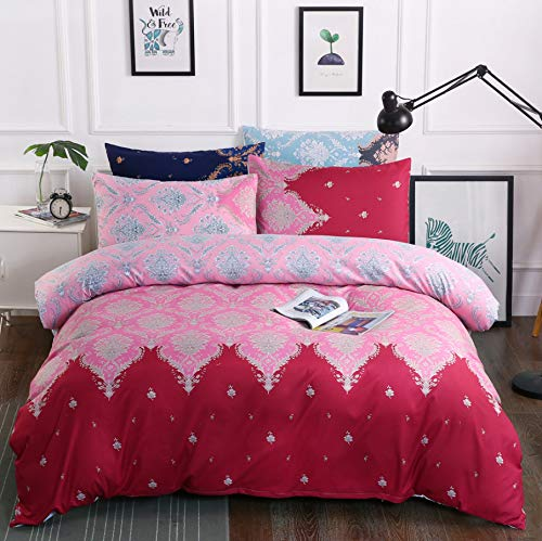 HDBUJ Pattern Red Bedding Set, Soft Anti-Wrinkle Polyester Duvet Cover, Two Pillowcases, Single (Double Bed) 200X200Cm