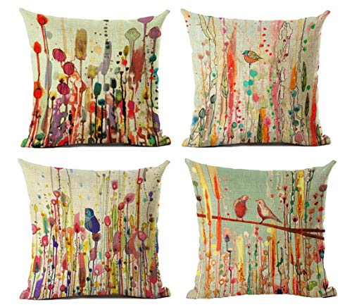 Cotton Linen Throw Pillow Case Cushion Covers Decorative Flower Bird Of Life 18 x 18 inches Set Of 4 Pcs Perfect For Home Office