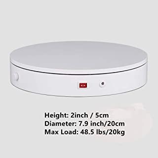 DHR 360° Speed Adjustable Turntable/Display Base for Photography, Video Shooting, Jewelry. Car Model, Gundam, Collectible Hobbies (7.9 inch, White)
