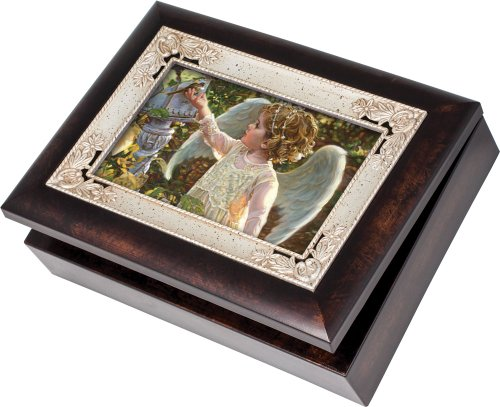 Painting of Child Angel in The Garden Burlwood Jewelry Music Box Plays Wind Beneath My Wings
