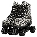 Buric PU Leather Leopard Double-Row Roller Skates for Unisex Beginner, High-top Roller Skates Shiny Four-Wheel Roller Skates with Shoes Bag (Silver(Black Wheel),38)