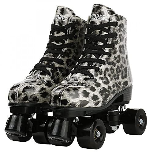 Gelory Leopard zweireihige Rollschuhe, PU-Leder Rollschuhe für Anfänger, Unisex Indoor Outdoor Roller Skates mit Schuhtasche (Leopard Silver Black Wheel, 42)
