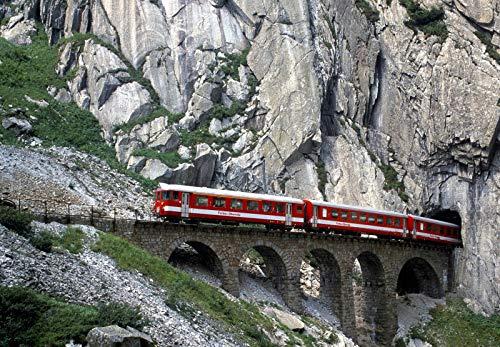 LIZELUO 500 Piezas Rompecabezas Madera para Adultos Tren Pasando La Cueva Único Adulto Niño Rompecabezas Juguete Regalo 52X38cm