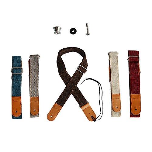 ZEALUX Ukulele Band Comfortabel Katoen Linnen & Leer Verstelbare Uke Schouderband Suit Voor Alle Ukulele & Kleine Gruitar Lichtbruin