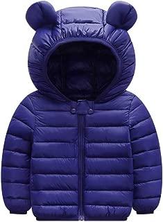Toddler Kids Baby Winter Warm Hooded Coat Cute Bear Ears Thicken Zipper Solid Color Jacket Snowsuit Outwear