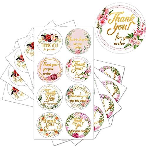 Yunnan - 160 pegatinas de agradecimiento, gracias por tu pedido, etiquetas adhesivas, para manualidades, manualidades, cumpleaños, negocios, Navidad, decoración (8 diseños)