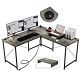 Bestier L Shaped Desk 95.2 Inch with Power Outlet Reversible Corner Office Desk or 2 Person Long Table for Home Large Gaming Writing Workstation with Monitor Stand and 2 Cable Holes, Gray