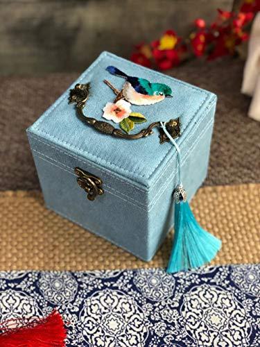 QAZXS Schmuck Aufbewahrungsbox Schmuckschatulle Dodge 匣 Chinesischer Stil Halskette Ring Große Kapazität Doppelschicht Retro Mit Schloss Make-up Hochzeit Geburtstag Geschenk-B7