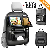 NBrand EAQ Car Back seat Organizer with Foldable Table Tray, PU Leather Car Back seat Organizer for Babies Toys Storage with Foldable Dining Table Holder Pocket,2 Pack,Black