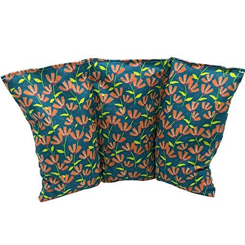 Cuscino termico noccioli ciliegia 'Fiori - Verdi' - 26 x 16 cm (M / L) - pieno di noccioli di ciliegia 330gr - effetto freddo/caldo