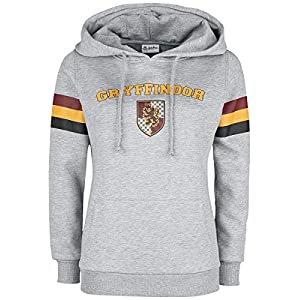 HARRY POTTER Gryffindor - College Stripes Mujer Sudadera con Capucha Gris/Melé 18
