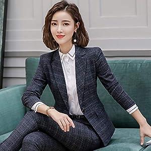 MQIQI 2 Stück Set Plaid Formale Hose Anzug Büro Dame Uniform Designs Für Frauen Business Anzüge Arbeit Tragen Blazer