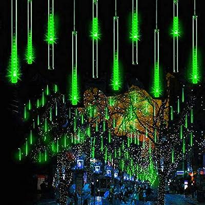 WONFAST LED Meteor Shower Solar Lights Garden, Waterproof 30cm 10 Tubes 360LEDs Falling Raindrop Cascading Decorative String Lights for Holiday Party Wedding Christmas Tree Decoratio (Green)
