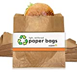 "200 Light, Reinforced Paper Sandwich Bags (Small, 8 x 8"") Sustainably Sourced, Brown Paper Bags 