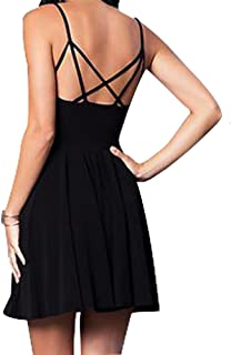 Women's Short Sleeveless V-Neck Comfortable & Stretch Flare Skirt Party Dress with Strappy Back