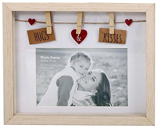 Marco de madera diseño de tendedero de la ropa con pinzas, para 6-4 fotos - Hugs and Kisses