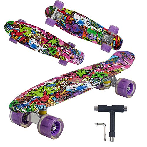 Geelife 22' Complete Mini Cruiser Skateboard for Beginners Youths Teens Girls Boys