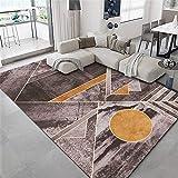 Alfombras Alfombra Bebe Diseño geométrico Amarillo Gris Negro fácil de Limpiar para Lavar la Alfombra. dormitorios Juveniles Alfombra Chimenea 160X230CM