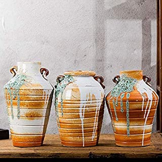 Pottery High-Temperature Ceramic Vase Crafts, Mud Bubble Glaze Retro Neo-Classical Clay Pots, Can Grow Flowe