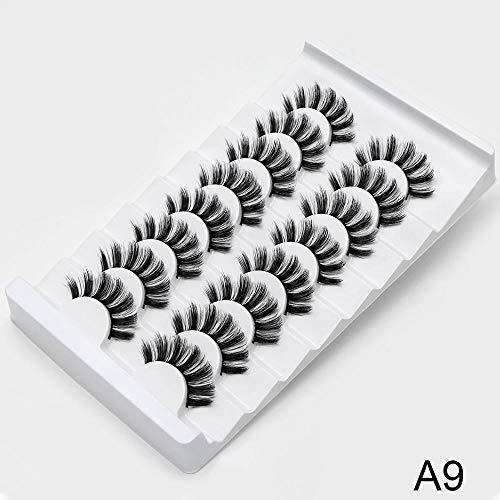 NO LOGO FDCW 8/20 Paires de Faux Cils naturels 3D de Faux Cils Maquillage Kit Lashes Extension Cils (Couleur : A9, Curl : CURL)