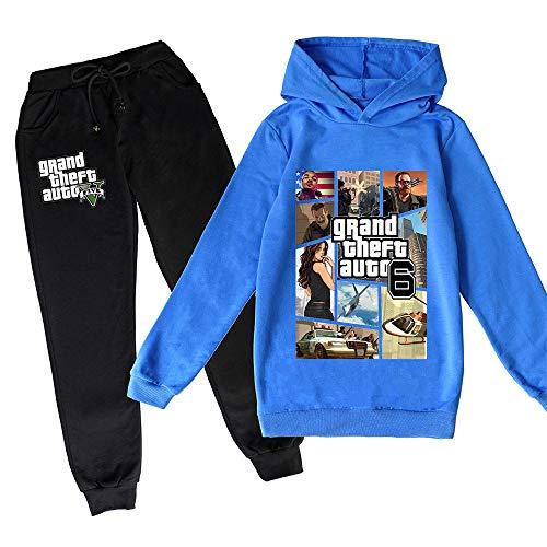 ZKDT Grand Theft Auto Fashion Sudadera con capucha de dos piezas GTA de 5 mangas para niños, niños y niñas 1 100 cm