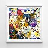 ZHJJD Cuadros Coloridos de GatosPintura al óleo Abstracta Carteles de Animales Impresiones Estética Cuadros artísticos de Pared Decoración de la Sala de Estar del hogar 50x50cm Sin Marco