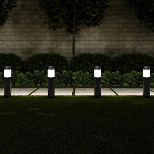 "Pure Garden 50-LG1063 Solar Path Bollard, Set of 6-15"" Stainless Steel Outdoor Stake Lighting for Garden, Landscape, Yd, Driveway, Walkway (Black)"