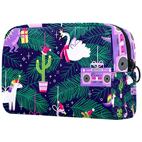 Cosmetic Bag Womens Waterproof Makeup Bag for Travel to Carry Cosmetics Change Keys etc Seamless Pattern with Cute Funny Christmas Ornaments in Bright Cartoon Style