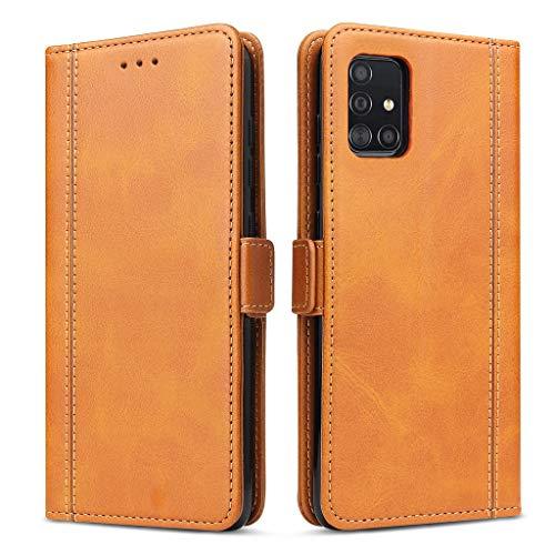 Bozon Handyhülle für Galaxy A51, Lederhülle mit Kartenfächer, Handytasche mit Standfunktion, Klapphülle Tasche für Samsung Galaxy A51 (Braun)