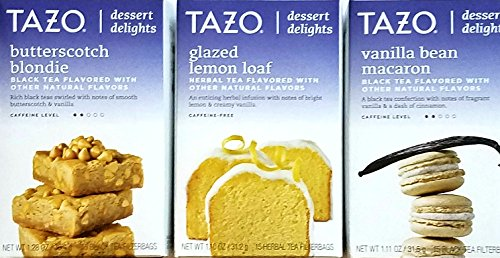 Butterscotch Blondie, Glazed Lemon Loaf, Vanilla Bean Macaron - Tazo Dessert Delights Tea - Variety Pack of 3