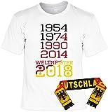 WM-Shirt-Set/Fußball-Set/Fan-Set Deutschland-Shirt+Fan-Schal: 1954 1974 1990 2014 Weltmeister 2018 - geniales Fan-Outfit