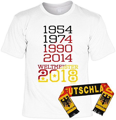 Fußball Fan Set, T-Shirt mit Deutschland Schal, Fanartikel, Trikot - 1954 1974 1990 2014 - Weltmeister 2018