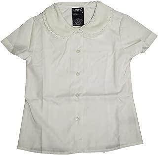 Little Girls' Short Sleeve Peter Pan Lace Trim Blouse