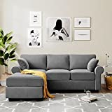 Danxee Modern Velvet Fabric Sectional Sofa, L-Shape Couch with Extra Wide Chaise Lounge, Left Hand Facing Chaise Lounge and Two Decorative Toss Pillows for Small Space
