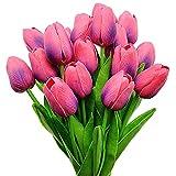 Aisamco 20 Pezzi Tulipani Artificiali Tocco Reale Tulipani Mazzi di Fiori Fiori Tulipani Finti Tulipani in PU Fiori per la casa Centrotavola Centrotavola Decorazioni per Matrimoni