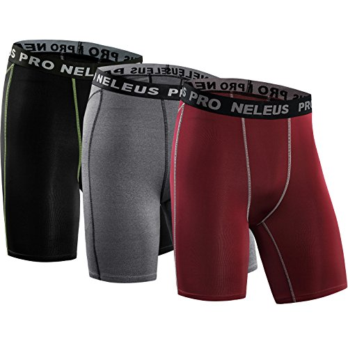 Neleus Men's 3 Pack Compression Short,047,Black,Grey,red,US M,EU L