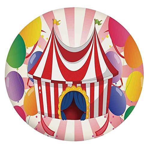 Albert Lindsay Backdrop Mantel ajustable de poliéster con bordes elásticos, carpa de circo con globos de colores a rayas, se adapta a mesas redondas de 56 a 60 pulgadas, protección para tu mesa