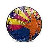 ART VVIES Reloj de Pared Redondo de 12 Pulgadas sin tictac silencioso operado por batería Oficina Cocina Dormitorio Decoración para el hogar-Patrón de Estrella