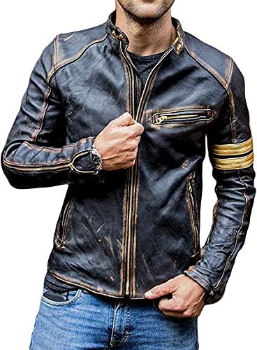 Chaqueta de cuero retro vintage de la motocicleta del Cafe Racer de la vendimia, chaqueta de cuero de la raya amarilla de la motocicleta para los hombres, chaqueta de cuero