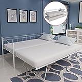 Festnight lit de Jour en métal élégant 211 x 100 x 95 cm en Acier Blanc