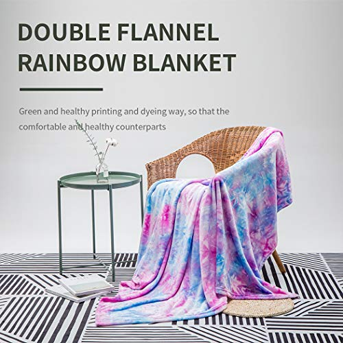 Colorful Throw Blanket, Rainbow Throw Blanket COCOPLAY W Super Soft Fuzzy Light Weight Luxurious Cozy Warm Microfiber Blanket for Bed Couch Living Room (Purple Rainbow, Throw (50'x60'))