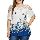 MORCHAN Femmes Plus Size Manches Courtes imprimé Papillon T-Shirt décontracté en Vrac Haut Chemisier