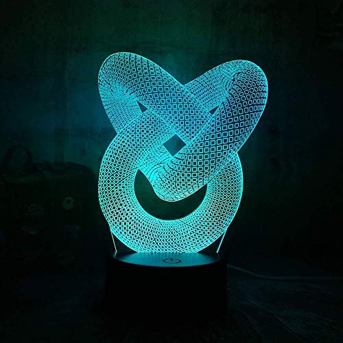 Luz De Noche 3D Artística Abstracción Nudo De Lazo Luz De Noche Usb 3D Lámpara De Luz De Mesa De Escritorio Led Colorida Para La Decoración De La Boda Del Dormitorio Del Hogar