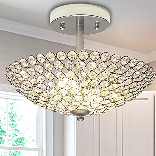 POPILION 2 Light Elegant Crystal Ceiling Light, Bowl Shaped Chrome Finish Metal Glam Chandelier, Semi Flush Mount Bedroom Living Room Fixture