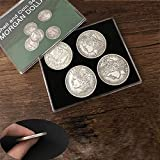 Morgan Dollar Shell and Coin Set (5 Coins + 1 Head Shell + 1 Tail Shell) Magic Tricks Close up Illusions Gimmick Prop Coin Magic